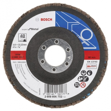 Bosch 115 mm 40 K Expert for Metal Flap Disk