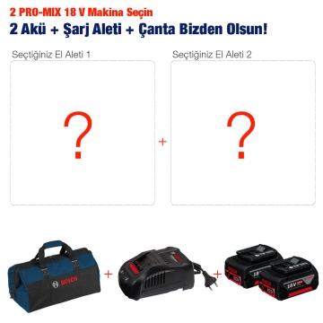 2 Adet Bosch PRO-MIX 18 V Makina Alana 2 Akü + Çanta + Akü Şarj Aleti Hediye