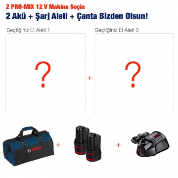 2 Adet Bosch PRO-MIX 12 V Makina Alana + 2 Akü + Çanta + Akü Şarj Aleti