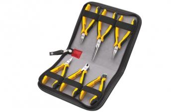 H20-W06 6 Parça Elektronikçi Pense Takımı (Deri Çantalı)